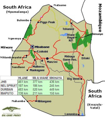 Location of 3 parks in Swaziland (click to enlarge)