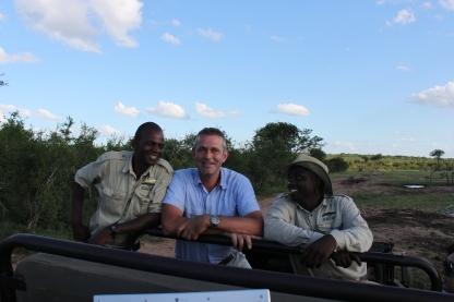 Michael with Mkhaya Guides; Sabelo & Bongani