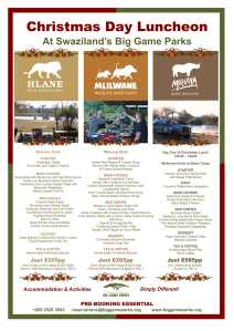 Big Game Parks Christmas Menu